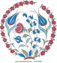 Elegant vector motif of beautiful Iznik style tulips, traditional Turkish-Ottoman art by Renkabora, via Shutterstock