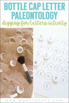 Bottle Cap Letter Paleontology: Digging for Letter matching activity
