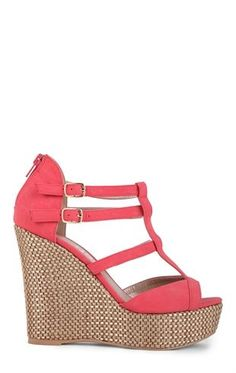 Deb Shops Basket Weave Platform T-Strap Wedge $36.90