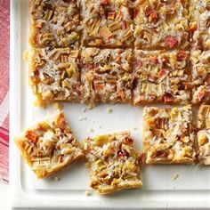 Rhubarb Dream Bars Recipe -Dreaming of a different way to use rhubarb? Try these sweet bars shared by Marion Tomlinson of Madison, Wisconsin. She tops a tender shortbread-like crust with rhubarb, walnuts and coconut for delicious results.