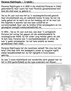 Florence Nightingale, Teaching Aids, Afrikaans, Kids Education, Words, Italy, Florance Nightingale, Horse, Afrikaans Language