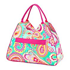 #Large #Beach #Bag, #Pool Bag, #Monogram Beach Bag, #Personalized #Tote, #Summer Tote, #Paisley  22 L x 8 W x 12 H Inside Zipper Pouch (7.5 x 5.5) Outside Zipper Pocket (12.5 x 10.5) Zipper Closure Inside Lining Comfort Fit Handle Monogram: Mint Thread 1845/Circle Monogram  #Travel #Ladies #Paisley