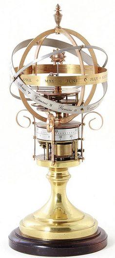 Orrery Clock; Oxford Clock Portfolio?, No 22, Sun & Seven Planets, Roman & Arabic Chapter Rings, 18 inch. Year: 1901 - 2000
