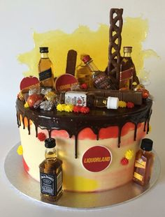 Liquor cake with mini alcohol bottles