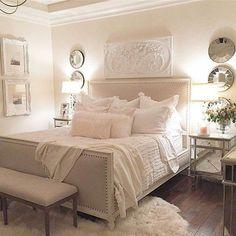 Beautiful Blue Shabby Chic Bedroom Ideas – Shabby Chic Home Interiors Shabby Chic Bedrooms, White Bedrooms, Cream And White Bedroom, White And Pink Bedding, Light Pink Bedrooms, Home Decor Bedroom, Modern Bedroom, Contemporary Bedroom, French Bedroom Decor