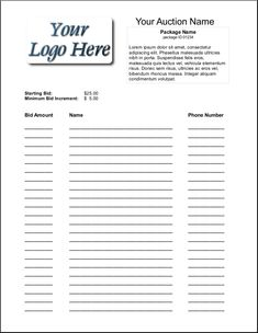 silent auction bid sheet free template