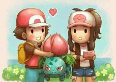 For the 'Be my Valentine' DA event. I chose Red as the male character for this artwork because. The guy won the Pokemon League and dec. Be my Valentine? Valentine Picture, Be My Valentine, Pokemon Valentines, Valentines Design, Pokemon Fan Art, Pokemon Red, Manga, Bulbasaur, Anime