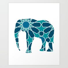 ELEPHANT SILHOUETTE WITH PATTERN - A beautiful design of a Head of an Elephant. A majestic animal that is not only big and strong, but also has a great memory, can paint with its trunk and is so sensitive that it can massage you with its big feet.  graphic-design digital pattern illustration vector elephant silhouette trunk big animal africa pattern room blue illustration