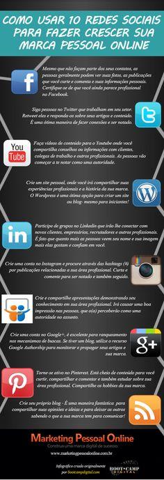 #Infográfico: 10 Redes Sociais para usar em seu Marketing Pessoal Online #socialmedia #mkt #business