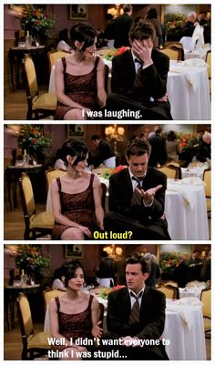 Chandler and Monica at Ross' wedding after Chandler's bombed toast. Couldn't find this ANYWHERE, so I had to make one myself <3 Man, I love these two! |TV Shows||Friends funny moments||Mondler||The One With Ross's Wedding Part 1||4x23||Courteney Cox||Matthew Perry|