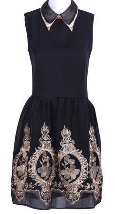 Black Lapel Sleeveless Zipper Embroidery Dress pictures