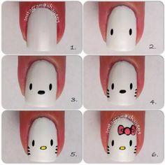 Diy hello kitty nails hello kitty in 2019 Nail Art Hello Kitty, Ongles Hello Kitty, Hello Nails, Hello Cat, Nail Art For Kids, Easy Nail Art, Cool Nail Art, Nail Art Designs, Nails Design