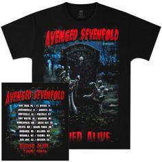AVENGED SEVENFOLD Buried Alive 2011 Black TOUR T-Shirt - A7X Concert Shirt
