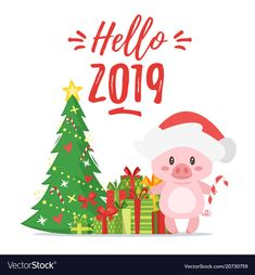 Vector cartoon style illustration of Happy 2019 New year greeting card with cute. Vector cartoon s New Year Greeting Cards, New Year Greetings, New Year Card, Christmas Greeting Cards, Christmas Greetings, Black Christmas Tree Decorations, Christmas Tree Tops, Christmas Tag, Happy New Year Photo