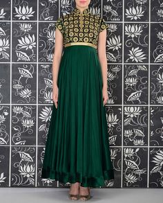 Emerald Green Anarkali Suit with Embroidered Yoke - Rohit Bal - Designers