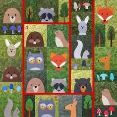 Woodland Critters crib sized quilt with sewing guidelines added - pattern from Shiny Happy World