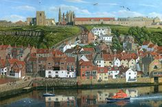 This painting of Whitby Harbour in North Yorkshire, England, was a commission for Falcon Jigsaw Puzzles. The painting shows the ruins of Whitby Abbey on the top of the east cliff, along with the interesting St Mary's Church. These are reached by 101 steps at the rear of the town. In the foreground are the Duke of York pub and the Board Inn, and the RNLI lifeboat can be seen making its way out to sea.