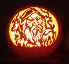 Wizard cut out pattern by Stoneykins. Carved on a real pumpkin by WynterSolstice