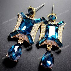 Wholesale Pair of Delicate Rhinestone Drop Pendant Earrings For Women (COLOR ASSORTED), Earrings - Rosewholesale.com