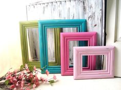 Colorful Set of Picture Frames with Glass and by WillowsEndCottage