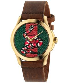 Gucci Unisex Swiss Le Marche Des Merveilles Brown Toscano Leather Strap Watch 38mm YA1264012