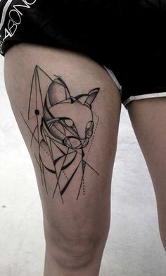 geometric tattoo that has a cat as it's centerpiece