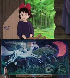 MOVEMENT- this is a clip from the movie kikis delivery service made from studio ghibly. the picture on the bottom has a lot of movements the movement of the hair, wings crows and beast in the sky.
