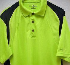 111fe7b0d GRAND SLAM Golf Polo Rugby Style Mens L Short Sleeve Shirt Lime Green Black