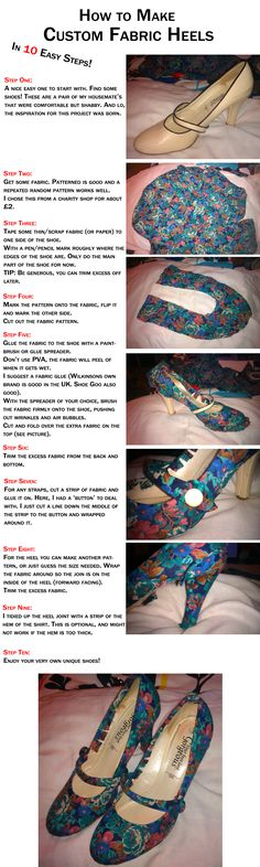 How to Make: Custom Fabric Heels Diy Fashion, Fashion Shoes, Runway Fashion, Fashion Trends, Shoe Makeover, Shoe Refashion, Shoe Crafts, Fabric Shoes, How To Make Shoes