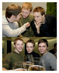 Daniel Bruhl hanging out with August Diehl and Thure Lindhardt