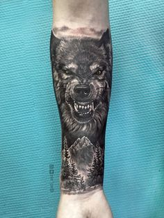 Tattoo Ivan Sergeev - tattoo's photo In the style Black and grey, Male, Wolv Wolf Tattoos Men, Dad Tattoos, Badass Tattoos, Viking Tattoos, Animal Tattoos, Body Art Tattoos, Tiger Tattoo Sleeve, Lion Tattoo Sleeves, Tree Sleeve Tattoo