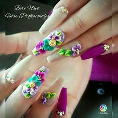 Super kawaii nail idea for the new year. 3d Nail Designs, Acrylic Nail Designs, 3d Flower Nails, Nails Only, Crazy Nails, Hot Nails, 3d Nail Art, Fabulous Nails, Stylish Nails