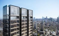 Foster + Partners' twin-towered residential development in London features once bike parking space per bedroom.