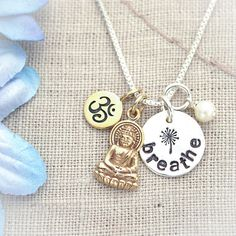 Hand Stamped Yoga Breathe Ohm Buddha Necklace by TracyTayanDesigns, $32.95