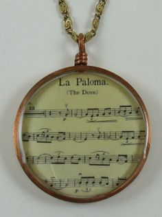Pendant resin in copper La Paloma music 001 by crquack on Etsy, $40.00