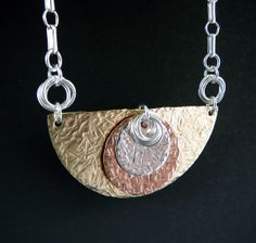 Contemporary Mixed Metal Pendant Necklace by TouchOfSilver on Etsy, $45.00