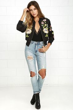 The Glamorous Horticulture Club Black Embroidered Bomber Jacket is perfect for…