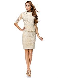 TS Couture® Cocktail Party / Company Party Dress Sheath / Column Bateau Knee-length Lace with Lace – USD $ 98.99