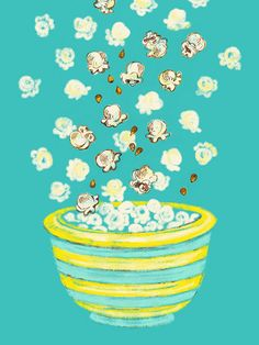 Give the gift of everlasting popcorn with this Popcorn Art Print! #Popcorn #GiftIdea #art