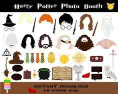 Harry Potter Photo Booth Props–48 Pieces-Printable Harry Potter Props-Wizard Party Photo Booth-Harry Potter, Hermione,Ron -Instant Download by HappyFiestaDesign on Etsy https://www.etsy.com/listing/215164762/harry-potter-photo-booth-props48-pieces