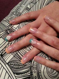 Uñas acrílicas decoradas con manicura francesa en tono melocotón y turquesa con flores 3D  Más trabajos en http://www.facebook.com/patriciajimeneznails  #nails #nailart #nailpolish #uñas #manicura #manicure