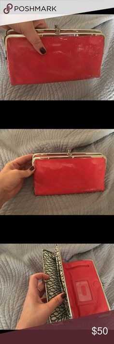 Hobo Lauren Double Frame Clutch - coral Patent leather & two-sided design - perfectly proportioned for traveling light. Clutch opens at the center to reveal card slots, an ID window and a full-length zip pocket. Frame at one end has openings for more cards, while the frame at the other conceals a zip pocket. HOBO Bags Clutches & Wristlets