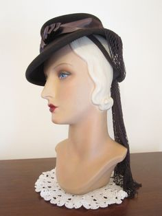 1940's Equestrian Style Tilt Hat with Snood.