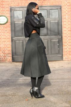 DIY high waisted midi skirt and leather cropped top pt2-Beaute' J'adore