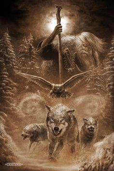 Slavic mythology by Igor Ozhiganov – Slavorum Norse Tattoo, Viking Tattoos, Slavic Tattoo, Celtic Tattoos, Fantasy Wolf, Fantasy Art, Dark Fantasy, Wolf Tattoos Men, Tribal Wolf Tattoos