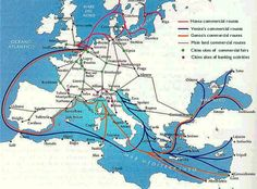 The trade routes of the Hansa, Venice and Genoa, in the fourteenth century.