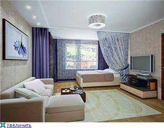 зонивароние спальной зоны с помощью шторы