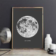 Full Moon Printable File La Luna Poster And Canvas Bohemian Bedroom Decor, Bohemian Art, Home Bild, Dorm Room Art, Solar System Art, Blush Rosa, Lunar Moon, Kunst Poster, Art Watercolor