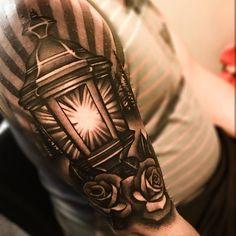 Half Sleeve Awesome Lantern Rose Tattoo