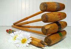 Retro Wooden BackYard Croquet Equipment Ensemble - Vintage OutDoor Sports 16 Piece Set - Repurpose Gameroom Decor by DivineOrders on Etsy